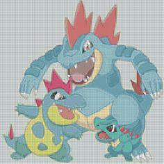 Pokemon Totodile Evolutions (75 Colors) Cross Stitch Pattern