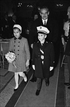 Princess Caroline, Prince Albert And Father Prince Rainier In Monaco On December 1964
