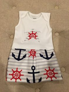 6 month Nautical Onesie Dress by AmeliaRaesCuteClips on Etsy