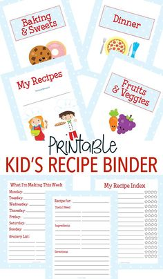 Make a custom recipe binder for kids with this adorable printable set! Little chefs will love to have their own kids cookbook filled with all of their favorites. 15 total pages including category dividers, kid friendly recipe card and more. Fun Baking Recipes, Kids Cooking Recipes, Cooking Classes For Kids, Kids Meals, Cooking School, Preschool Cooking, Kids Cooking Activities, Budget Recipes, Frugal Meals
