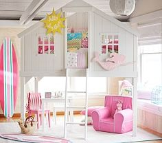 Bunk beds are great for siblings and sleepovers. Shop Pottery Barn Kids' bunk beds and loft beds for kids with functional and sturdy styles. Treehouse Loft Bed, Playhouse Loft Bed, Girls Bedroom, Bedroom Decor, Bedroom Furniture, Night Bedroom, Bedroom Ideas, Master Bedroom, Attic Bedrooms