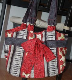 Boutique BagPianos and Roses by TwinTreeCrafts on Etsy, $65.00