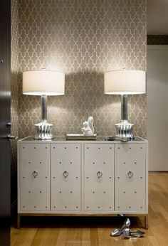 loving the geometric wallpaper.  This will be a nice accent in the foyer