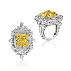 David Mor Jewellery A 14 carat fancy intense yellow diamond, surrounded by mixed white diamonds.