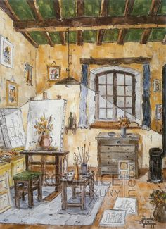 """L'atelier (Ref/GIR036) by Philippe Giraudo - Reproduction 70 x 50 cm (19.75"""" x 27.60"""") - $ 24.99 French Artists, Painting, Atelier, Painting Art, Paintings, Painted Canvas, Drawings"""