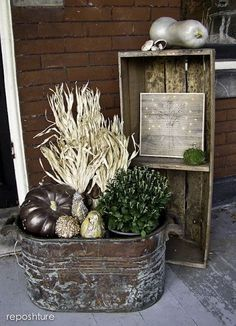 Porch decor for Autumn/Fall in a rustic setting - looking great. JH