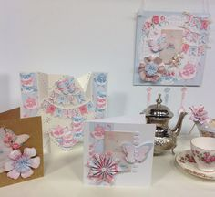 Cards designed using Afternoon Tea. Craftwork Cards, Craft Items, Afternoon Tea, Handmade Cards, Decorative Boxes, Card Making, Paper Crafts, Gift Wrapping, Collections