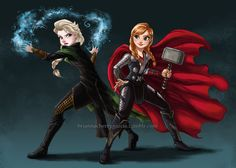 Disney Cosplay Anna Elsa / Loki Thor is listed (or ranked) 4 on the list 20 Pieces Of Outstanding Disney/Marvel Mashup Fan Art - A match made in mouse house heaven? Walt Disney, Disney Love, Disney Magic, Disney Art, Disney Stuff, Jelsa, Disney Marvel, Marvel Dc, Marvel Funny