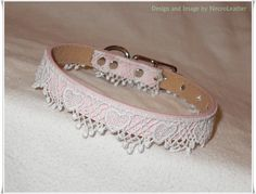 Discreet BDSM Collar - White Heart Lace and Pink Vegan Leather Day Collar…