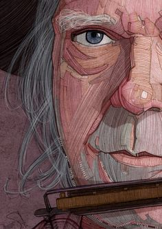 Neil Young illustration portrait for Georgie Magazine by Stavros Damos, via Behance