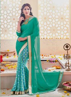 Buy saree online, trendy saree that serve for fashion and style. Grab this immaculate faux chiffon and georgette designer saree for festival and party.