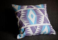 "Blockprinted Linen Pillow Cover - Diamonds in Plum/Sky (removable, 16"" x 16""). $65.00, via Etsy."