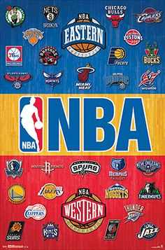 NBA Basketball Full Court Poster (All 30 Team Logos) - Costacos Sports 2014
