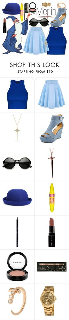"""""""Merlin~ DisneyBound"""" by basic-disney ❤ liked on Polyvore featuring S.W.O.R.D., Topshop, WithChic, Diamond Star, Rachel Roy, Maybelline, Urban Decay, Smashbox, MAC Cosmetics and Bee Goddess"""