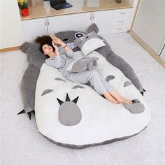 Online Shop My Neighbor Totoro Tatami Sleeping Double Bed Beanbag Sofa For Audlt Warm Cartoon Totoro Tatami Sleeping Bag Mattress Stuffed Animal Bean Bag, Giant Stuffed Animals, Totoro Pillow, Portable Bathtub, Sofa Bed Mattress, Bean Bag Sofa, High Back Chairs, Deck Chairs, Adirondack Chairs