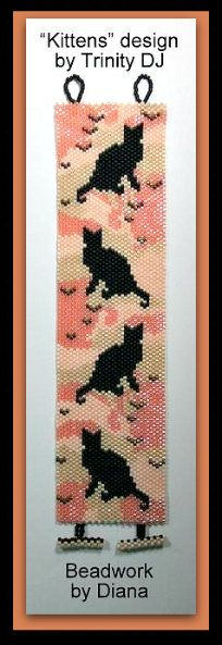 The KITTENS - EVEN COUNT PEYOTE STITCH CUFF was stitched using Miyuki Delica 11/0 beads.  ++++++++++++++++++++++++++++++++++++++++++++++++++++++++++++++++++  BRACELET PATTERN SPECIFICATIONS:  SKILL LEVEL: Novice to Advanced  STITCH TECHNIQUE: Even Count Peyote Stitch. A PDF for the toggle clasps are attached to this design.  LENGTH: 200 Rows (6.7)  WIDTH: 34 Columns (1.75)  BEADS USED: Miyuki 11/0 Delica Seed Beads.  SPECIAL INFO: This pattern is also available in a narrower version...