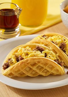 Who says you can't have breakfast for dinner? These Sausage and Egg Waffle Tacos are easy to prepare anytime!
