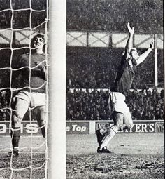 30 November 1974 John Connolly celebrates scoring Everton's fourth against Birmingham having intercepted an attempted back-pass by Archie Styles before taking the ball round Dave Latchford
