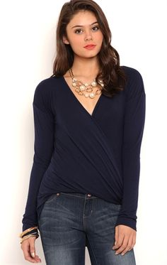 Deb Shops Long Sleeve Surplice Front High Low Top with Three Quarter Sleeves $9.50