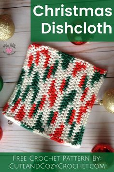 Quick and easy free crochet dishcloth washcloth pattern. Perfect Christmas or holiday gift. Holiday Crochet Patterns, Christmas Patterns, Crochet Patterns For Beginners, Easy Crochet Patterns, Amigurumi Patterns, Free Crochet, Crochet Stocking, Crochet Christmas Gifts, Crochet Christmas Decorations
