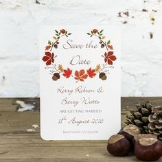 Personalised Autumn Save The Date Card - Full of texture, organic fabrics and more moss than you can shake a distressed stick at; Autumn-inspired wedding styling is all about natural simplicity.