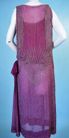 1920 ART DECO BEADED MAGENTA SILK TABARD FLAPPER DRESS. Back