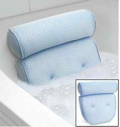 Bath Spa Pillow Cushion Back Support Neck Comfort Bathtub Tub Foam w/Suction Cup
