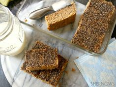 chia peanut butter brekfast bars. natural peanut butter and sub sugar for honey or agave.