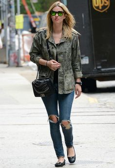 Nicky Hilton wearing Balenciaga Button Ballet Flats in black JET Denim by John Eshaya Antique Wash Jean Chanel Fall 2013 Enchained Boy Bag