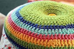 """EASY: Easy Striped (16"""") Round Pillow Crochet Pattern This is such an easy pattern, and you would end up with a very cute pillow. I think I would only use 2 different colors though."""