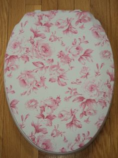 French Country.. Shabby Victorian Pink Rose.. Cottage Chic Toilet Seat Cover. $14.95, via Etsy.