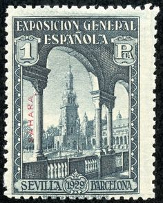 "Spanish Sahara 1929 Scott 21 1p blue black ""Exposition Buildings"" Seville-Barcelona Issue of Spain, Overprinted in Blue or Red"