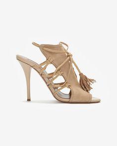 Aquazzura Suede Braided Rope High Heel Sandal: Khaki