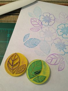 A couple of leaves I worked on, again using erasers. Like working with rounds.