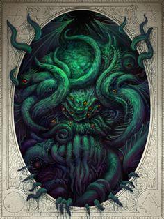 Cthulhu Awakens H. Lovecraft, Necronomicon inspired poster design by James Bousema Cthulhu Tattoo, Cthulhu Art, Lovecraft Cthulhu, Hp Lovecraft, Call Of Cthulhu, Arte Horror, Horror Art, Dibujos Dark, Lovecraftian Horror