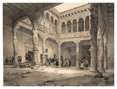 Patio de la Casa de la Infanta en Zaragoza-España artística y monumental..Tomo III- 1842-1850-Genaro Perez de Villa-Amil. Cortesía: Cesar Ojeda, Las Palmas de Gran Canaria (España).