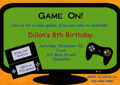 Gamer invitation video game birthday party diy printable gamer video game party invitation template free google search stopboris Choice Image