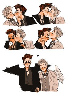 I just wanted to say I adore the way you draw Crowley and Aziraphale Answer: THANK YOU! Duelo Xiaolin, Good Omens Book, Fanart, Terry Pratchett, Fandoms, Neil Gaiman, Angels And Demons, Film Serie, Crowley