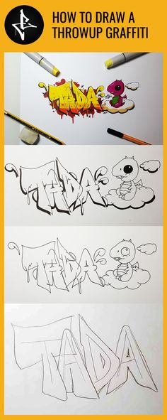 Step-by-step tutorial on how to draw a throwup graffiti art art graffiti art graffiti definition art graffiti quotes art graffiti words art quotes wall art quotes Graffiti Art Drawings, Graffiti Sketch, Best Graffiti, Graffiti Designs, Graffiti Wall, How To Draw Graffiti, Graffiti Quotes, Grafitti Letters, Graffiti Lettering Alphabet