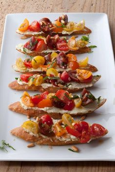Tomato Crostini with Whipped Feta from Ina Garten. Could do a variety of crostini on a long platter. Food Network Recipes, Cooking Recipes, Healthy Recipes, Cooking Games, Food Network Ina Garten, Cooking Fish, Budget Recipes, Healthy Breakfasts, Steak Recipes