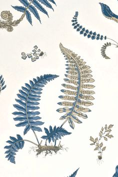 GP and J Baker Fern wallpaper and fabric #leafdesign #GP&JBaker For this and other inspiration visit my fabric and wallpaper blog: patternspy.com