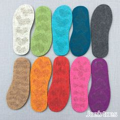 EU sizes Thick Felt Soles for Slippers and Slipper Socks with latex for a bit of grip - European sizing Semelles, Sohlen, Suolas, Zolen Crochet Shoes, Crochet Slippers, Knit Crochet, Crochet Converse, Latex, Felted Slippers, Blanket Stitch, Wool Blanket, Running Stitch