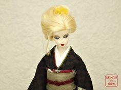 Japanese KIMONO dress,Barbie,Poppy Parker,FR NIPPON Brown kimono,obi,HOMONGI #KIMONOnoMIRAI
