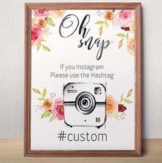Oh snap sign Instagram Hashtag Printable Wedding Instagram