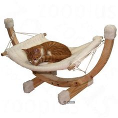 Cat Hammock Siesta White Spruce Natural Wooden Frame Swing Relax Plush Comfy Bed for sale online Modern Cat Furniture, Pet Furniture, Furniture Design, Cosy Bed, Cat Hammock, Pet Rats, Cat Supplies, Diy Stuffed Animals, Rat Mouse