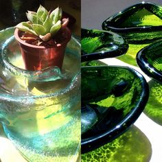 Algo de octubre... #vidrioreciclado #artesaniaenvidrio #vitrofusion #concon #hechoamano Recycled Glass, Glass Bottles, October, Atelier, Studio, Hand Made
