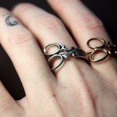 Items similar to Little Scissor Wrap Ring in White Rhodium or 24kt Goldplate, Custom Size on Etsy