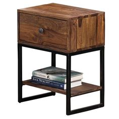 Akram Solid Dark Sheesham Wood 1-drawer Accent Table - Overstock™ Shopping - Great Deals on Coffee, Sofa & End Tables Rustic Side Table, Wood Table, Apartment Furniture, Furniture Deals, Furniture Outlet, Online Furniture, Apartment Ideas, Console Table, Drawer Table