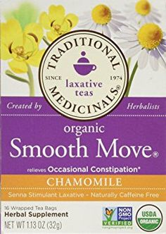 Traditional Medicinals Organic Smooth Move Chamomile Herbal Tea - 16 Tea Bags - Case Of 6 Peppermint Tea, Smooth Move Tea, Constipation Relief, Sweet Notes, Drinking Tea, Caffeine, Herbalism, The Cure