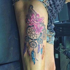 15+ Beautiful Flower Dreamcatcher Tattoo Ideas